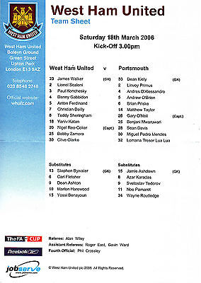 Teamsheet - West Ham United v Portsmouth 2005/6