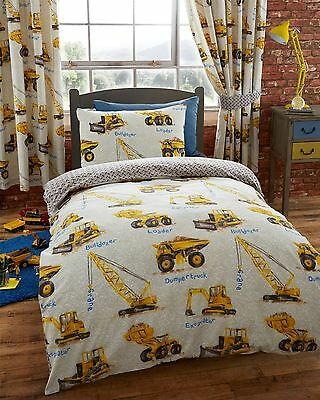 Kids Construction Yellow Dumper Trucks and Diggers Double Duvet Cover Bed Set