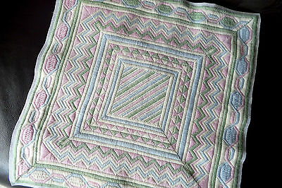 """Handmade needlepoint tapestry long stitch cushion cover for a 18"""" x 18"""" pad"""