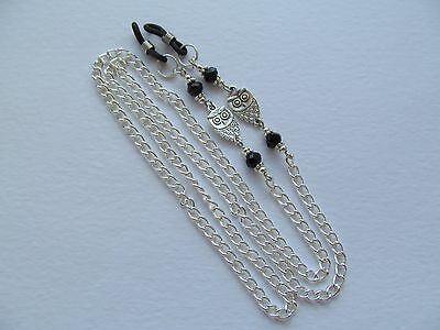 ~ WISE OWL ~ Beaded Spectacle Glasses Silver tone Chain Eyeglass Holder