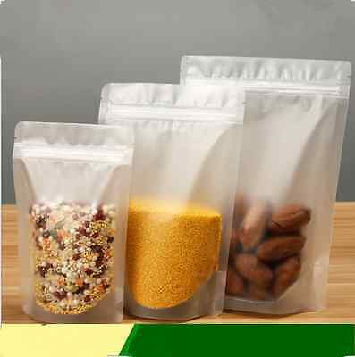 Natural Scrub Transparent Plastic stand-up Pouches Food Bags Resealable