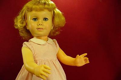 DARLING VINTAGE 1960s CHATTY CATHY DOLL IN PEPPERMINT PINK DRESS SOFT FACE NICE