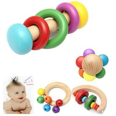 Baby Kids Children Wooden Rattle Bell Toy Handbell Musical Education Instrument