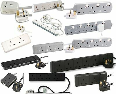Mains Power Extension Cables 1 2 3 4 5 6 Gang Way Sockets 13 Amp Extending Lead