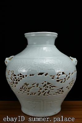 Chinese Beautiful White Porcelain Carving Dragon Pot