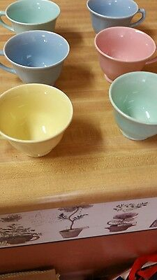 Luray Pastel 6 COFFEE CUPS /  TEA CUPS BLUE YELLOW PINK  GREEN