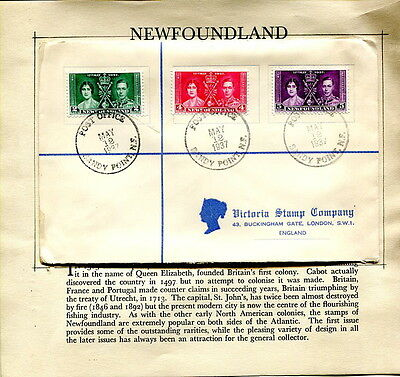 1937 Coronation Newfoundland plain first day cover Sandy Point to UK