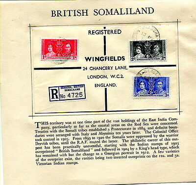 1937 Coronation Somaliland registered first day cover Berbera to UK