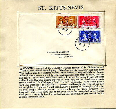 1937 Coronation St. Kitts-Nevis plain first day cover to UK