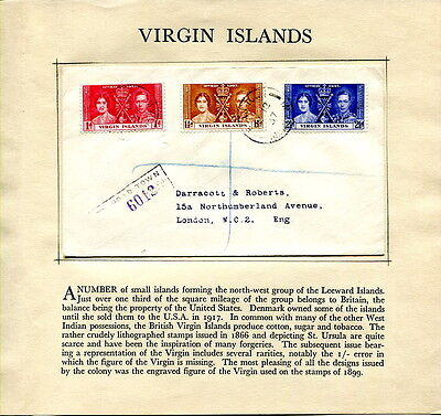 1937 Coronation Virgin Islands registered plain first day cover to UK