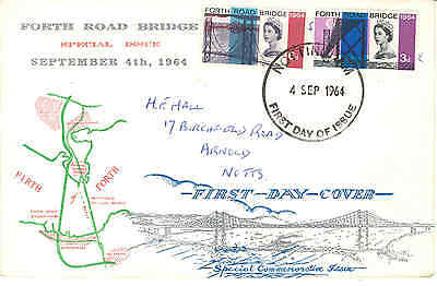 1964 Forth Bridge non-phosphor illustrated fdc Nottingham First Day Issue cancel