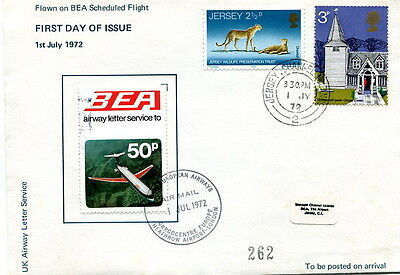 1972 BEA Airway Letter Service 50p LE first day cover Heathrow to Jersey