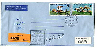 1973 50th anniversary Guernsey Air Service LE airmail cover SIGNED captain