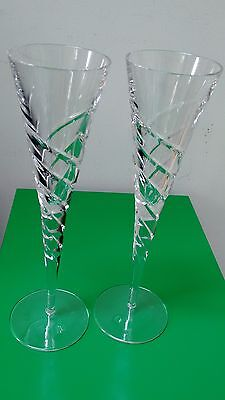 Two Contemporary Crystal Champagne Flutes