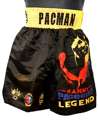 *New*  Manny Pacquiao Hand Signed Custom Made Boxing Trunks. Limited edition