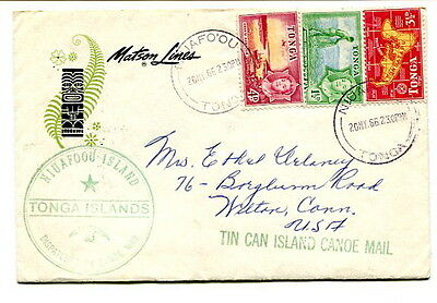 "Tonga 1966 ""Matson Lines"" commercial Tin Can Mail posted abroad ""S.S.MARIPOSA"""