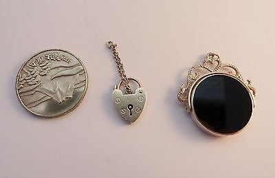 Hallmarked Solid Silver Padlock + A Mixed Material Spinning Fob + A Coin/token