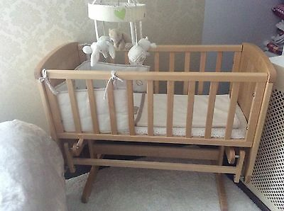 Mothercare Wooden Rocking Cot/crib+maters+bedding