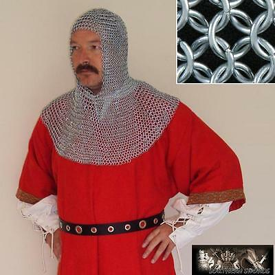Zinc Plated Chainmail Head Piece - Coif - Fully Wearable Butted Mild Steel. LARP