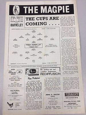 NOTTS COUNTY v BARNSLEY ~ 22 OCTOBER 1966 ~ FOOTBALL PROGRAMME ~ FREE POSTAGE