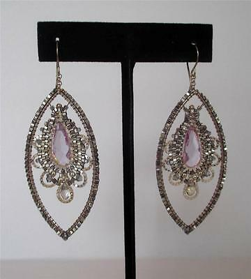 Miguel Ases Handcrafted Woven Beaded Large Silver Crystal Drop Earrings