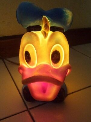 Vintage Mexico Donald Duck Hard Plastic Lamp Vinilos Romay Mexico Working Cond