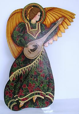 """Art Angel Heavy Gold & Fabric on Wood Hand Painted Plaque 20"""" Very Fine Detail"""