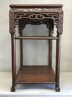 "Chinese Rosewood Marble Top Table 30.75"" Tall; 17.75"" Sq Top"