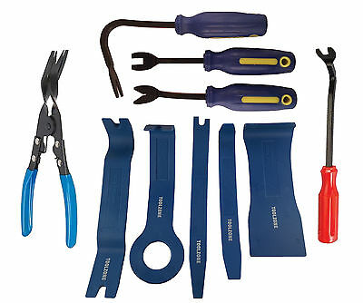10pc Body Moulding Removing Tools & Car Door Upholstery Trim Clip Removal Pliers