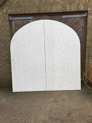 Timber Garage Doors With Swept Head And frame