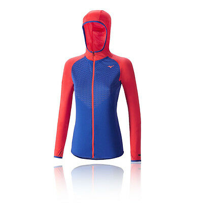 Mizuno Breath Thermo Body Mapping Womens Red Blue Half Zip Hoody Hooded Top