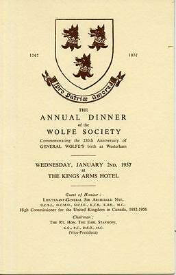 The Wolfe Society Annual Dinner: Menu & Other Documents 1957 Ref: 4998G