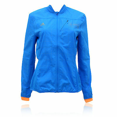 adidas Smarter Womens Blue Lightweight Breathable Full Zip Running Sports Jacket
