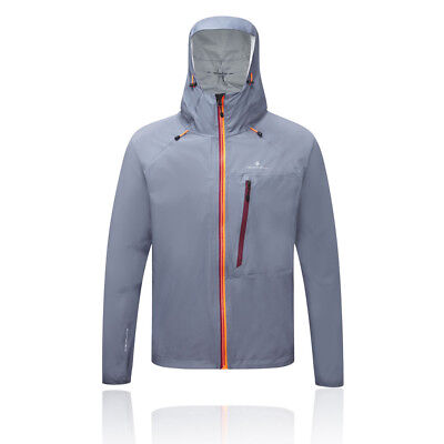Ronhill Trail Torrent Mens Grey Waterproof Windproof Zip Running Hooded Jacket