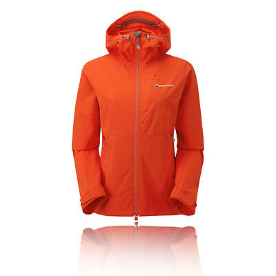 Montane Dyno Stretch Womens Orange Hooded Outdoors Hiking Zip Jacket Top