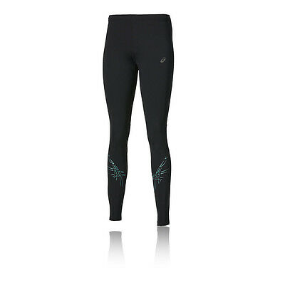 Asics Stripe Womens Black Running Training Long Tights Bottoms Pants