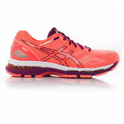 Asics Gel Nimbus 19 Womens Orange Pink Cushioned Running Fitness Shoes Trainers