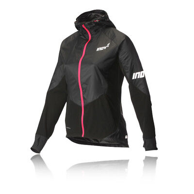 Inov8 AT/C Softshell Pro Womens Black Windproof Zip Running Hoody Jacket Top