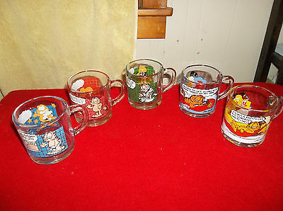 LOT 5 VTG GARFIELD 1978 MCDONALDS GLASS MUG CUPs JIM DAVIS
