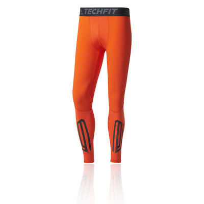 Adidas Techfit Tough Mens Orange Compression Long Running Tights Bottoms