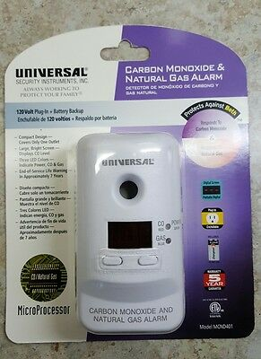 Universal Carbon Monoxide and Natural Gas Alarm  120 V Plug In MCND401, New