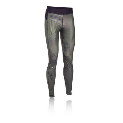 Under Armour HeatGear Womens Silver Running Gym Long Tights Bottoms Pants