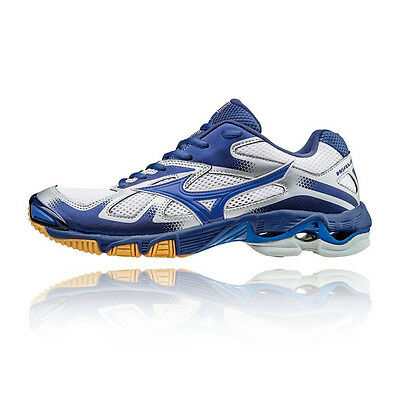 Mizuno Wave Bolt 5 Mens White Blue Squash Basketball Indoor Court Shoes Trainers
