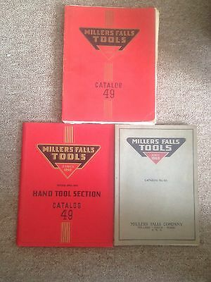 Lot of 3 Millers Falls Catalogs No. 40, 1929 No. 49 1955 No.49 Hand Tools