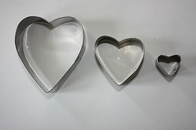 Heart Shaped Metal Cutters - Set of 3, Sugarcraft, Biscuit, Cake Decorating