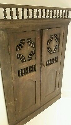 Large Antique Corner Cupboard French Rustic Country Spindled 19th Century