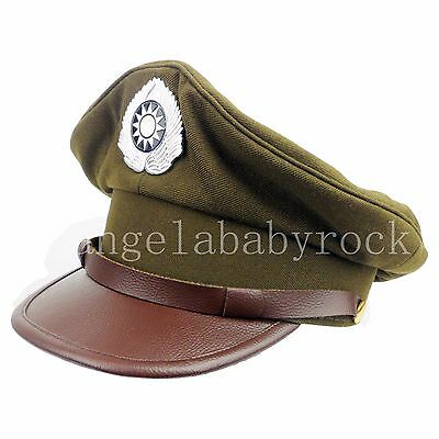 Wwii Chinese Army Military Officer Hat Cap Peaked Cap Us Style Hat Size Xl-0388