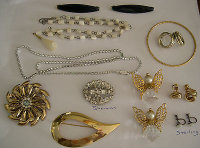 Lot of Costume Jewelry, Sherman, Sterling and other