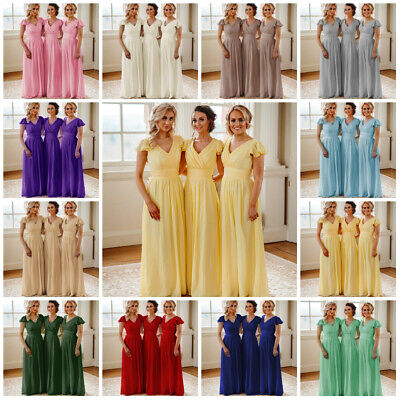 Chiffon Bridesmaid Maxi Wedding Dress Gown Cap Sleeve Prom Evening Vintage Lot
