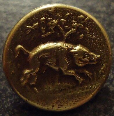 "Vintage Metal Boar Pig Hunting Picture Button 9/16"" Back Marked Paris"